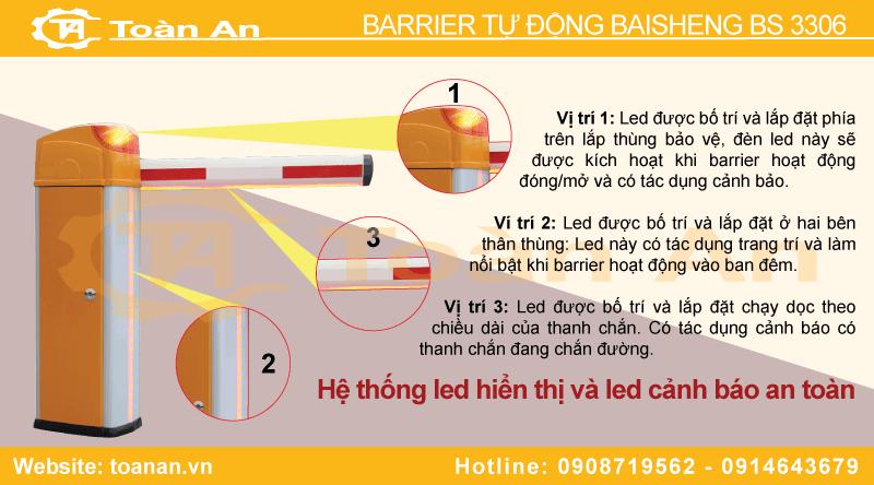 Hệ thống led cảnh báo của barrier tự động bs 3306