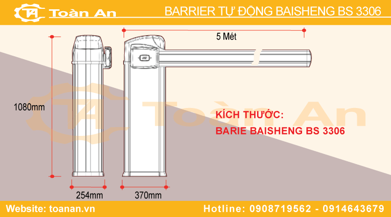 Kích thước chiều rộng, chiều dài, chiều cao của barrier Bisen Bs3306.