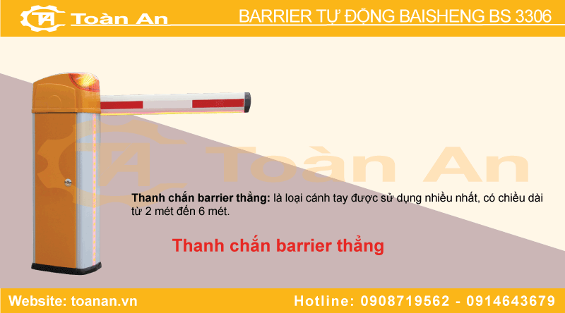 Thanh chắn thẳng của barrier tự động bs 3306.