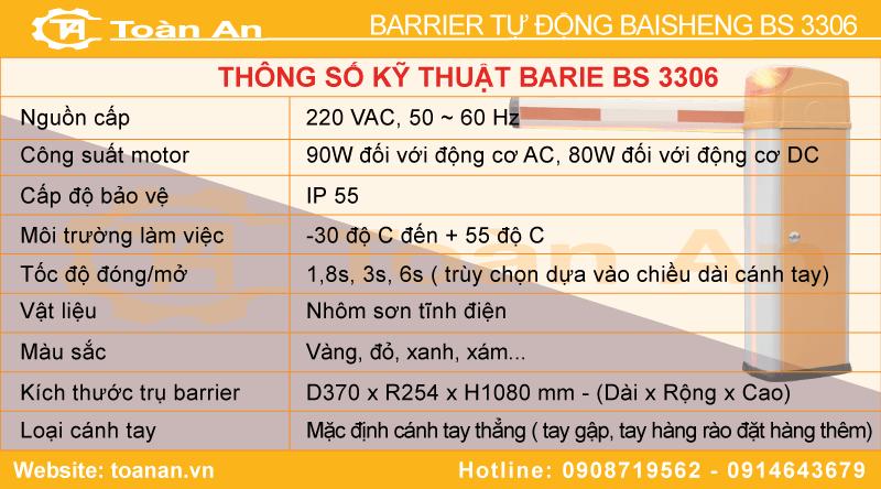 Thông số kỹ thuật barie tự động Bisen bs3306