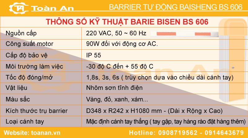 Thông số kỹ thuật của barrier tự động baisheng bs606.